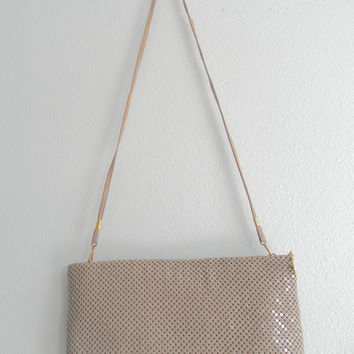 Vintage Mesh Cross Body Metallic Purse Evening Shoulder Bag Taupe Clutch