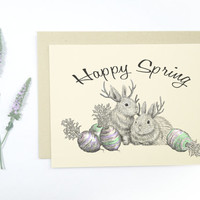 1 Jackalope Happy Spring Card: Blank inside, jackalope and Easter egg carrots, whimsical rustic holiday card