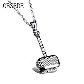 OBSEDE Fashion Titanium Steel Necklace Charms Thor hammer Shape Captain America Necklace For Men Jewelry Silver/Gold Color