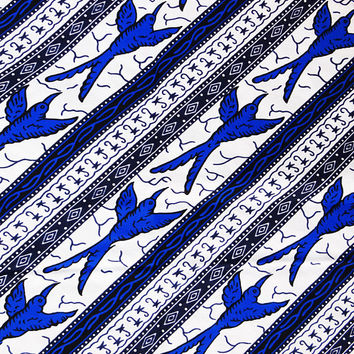 White Ankara African print Fabric/ African fabric by the yard/ Wax print fabric/ African fabric/ Ankara fabric/ ethnic fabric/ Swallow bird