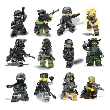 12PCS City police Swat Blocks team CS Commando Army soldiers with Weapon Gun Building Blocks Military Toy For children