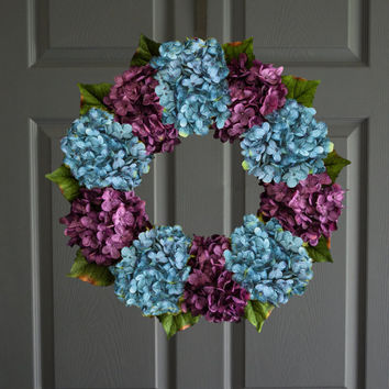 Blue & Purple Hydrangea Wreath | Spring Wreaths | Front Door Wreaths | Door Wreaths | Wreath