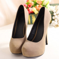 Fashion And Sexy Round Closed Toe Platform Super High Stiletto Apricot Pumps