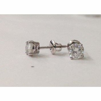 Luxinelle 1 Carat Diamond Stud Earrings - Screwback 4 Prong 18K 18eb6de8b