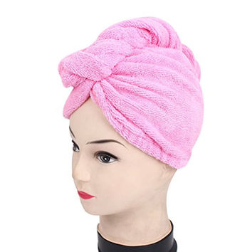 uxcell® Women Elastic Cuff Shower Bath Hair Dry Wrap Towel Cap Hat Fuchsia
