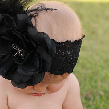 Black Vintage Flowers with Rhinestone Bling Center with Black Feathers on Black Lace Headband