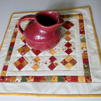 Fall Postage Stamp Quilted Table Runner Patchwork Scrappy Four Patch Vintage Glass Buttons