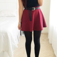Essential Flared Skirt - Burgundy