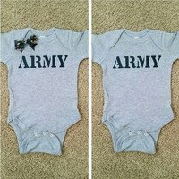ARMY Onesuit - unisex child clothing - Childrens Clothing  - Ruffles with Love - Baby Clothing - RWL Kids