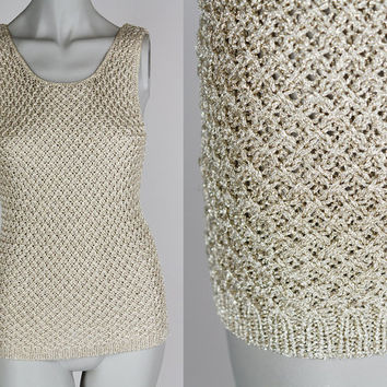 Vintage 80s Top / 1980s Metallic Gold Knit Tank Top XS S
