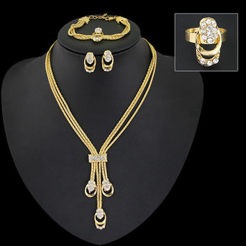 African Jewelry Set Gold plated Necklace Earring Ring Bracelet  Women Wedding Bridal Four Set Indian Multilayer Necklace