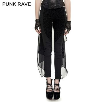 PUNK RAVE Fashion Novelty Women Gothic Punk  Forktail Trousers matched flocking flowers cloth Docorated with lace Pants