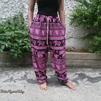 Elephants Yoga Pants Baggy Boho Hobo Style Printed Hippie Gypsy Aladdin Clothing Beach Clothes Summer Women Hipster Plus Size Comfy Pink