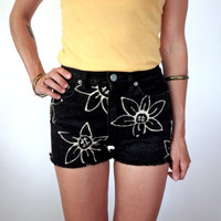 Sunflower Black Denim High Waisted Shorts 27 Upcycled Bleached