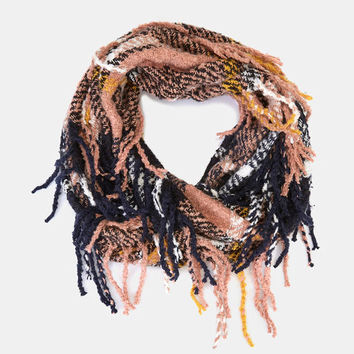Plaid Print Infinity Scarf With Fringe | Wet Seal
