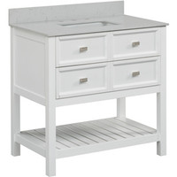 Shop Scott Living Canterbury White Undermount Single Sink Bathroom Vanity with Engineered Stone Top (Common: 36-in x 22-in; Actual: 36-in x 22-in) at Lowes.com