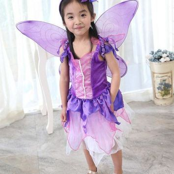 CREY6F Vocole Children Girl Purple Butterfly Fairy Costume Fairytale Princess Cosplay Fancy Dress