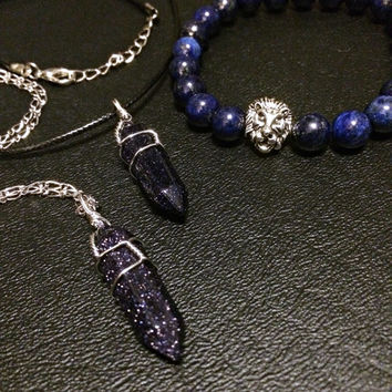 Galaxy Crystal Necklace Bracelet Bundle- Celestial Jewelry Lapis Lazuli Lion Bracelet Friendship Leo Zodiac Blue Sandstone Unisex