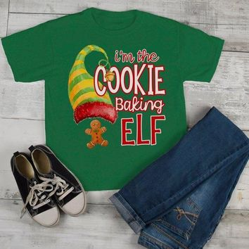 Kids Funny Elf T Shirt Cookie Baking  Matching Christmas Shirts Graphic Tee Watercolor Toddler Tee Boy's Girl's