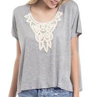 Crochet Front Accent Boxy Tee