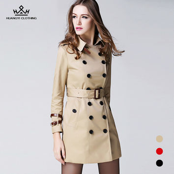 Brand Spring 2017 Fashion Women Long Trench Coat High Quality Double Breasted Runway Design Leather Buckle Khaki Outwear Coat