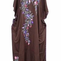 Mogul Interior Womens Kimono Kaftan Brown Silk Embroidered Caftan One Size: Amazon.ca: Clothing & Accessories