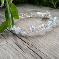 Light Sapphire Luster Rosebud Bracelet in Silver, Czech glass Bracelet, Braided Silver Bracelet