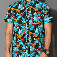 Tropical Print Cotton Shirt Black/Aqua X-Small