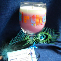 Cake & Buttercream Frosting Scented Soy Candle in Happy Birthday Wine Glass, Unique Birthday Gift, Pink and White