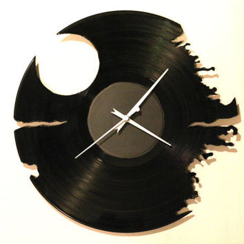 Recycled Vinyl Death Star Wall Clock Handmade and Hand-cut