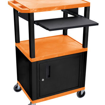 H.Wilson Multipurpose Mobile Multimedia AV Presentation Cart Lockable Storage Cabinet Black Pull Out Tray Orange