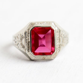 Antique Art Deco 10k White Gold Ruby Ring - 1920s Size 9 Mens Created Red Pink Stone Embossed Flower Fine Jewelry