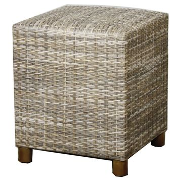 Rattan Square Stool, Gray