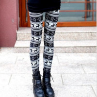 New Zealand velvet lengthened colorful snowflakes deer Christmas stretch nine points Leggings