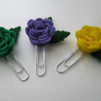 3 Felt Rose Planner Clips, Mardi Gras Theme Paperclip Bookmarks, Package Topper, Favor Gifts