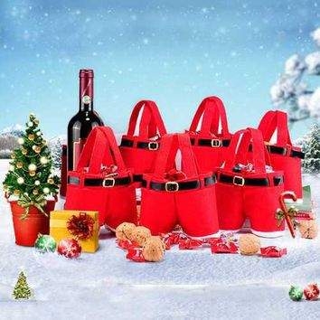 Merry Christmas Gift Treat Candy Wine Bottle Bag