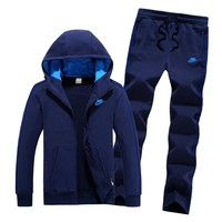 Adidas Fashion Casual Hooded Cardigan Jacket Coat Pants Trousers Set Two-Piece