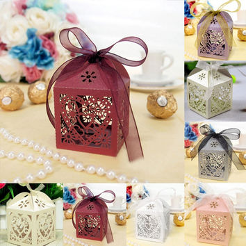 Hotsale 10Pcs/set Love Heart Party Wedding Candy Boxes Favor Ribbon Gift Candy Boxes Wedding Party Free Shipping