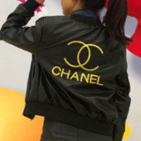 Chanel leather women short casual wild autumn and winter double C embroidery PU leather jacket