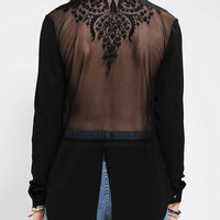 Urban Outfitters - Pins And Needles Embroidered Mesh-Back Blouse