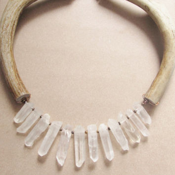 Real Antler Bib Necklace Quartz Crystal Point Statement Necklace DanielleRoseBean Bib Necklace