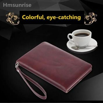 Luxury leather case for apple new ipad 9.7 2017 tablet holder hand strap A1822 A1823