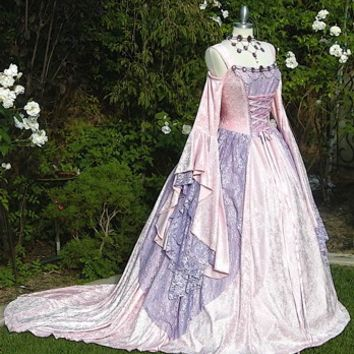 Gwendolyn Cinderella Meval Or Renaissance Wedding Gown 2 Tone Your Color And Size