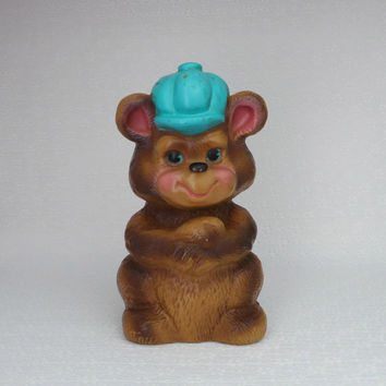 Vintage Bear Bank, Russ Berrie Bank, Brown Teddy Bear, Plastic Coin Bank