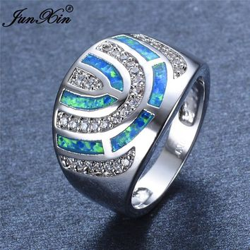 Boho Women Ladies Big Stone Finger Ring Love 925 Silver Blue Fire Opal Stone Ring Fashion Jewelry Vintage Wedding Rings