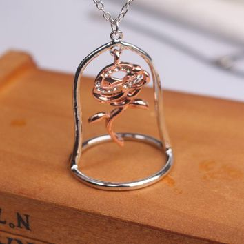 Beauty and the Beast Necklace Enchanted Rose flower glass in Terrarium Crystal Mosaic Pendant Valentines Day Gift