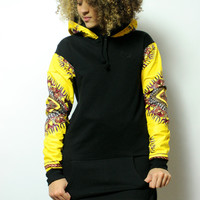 Black and Yellow Printed Sleeve Hooded Sweater