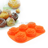 6 Rose Flowers 3D Silicone Cookie Fondant Cake Mold Cupcake Soap Biscuit Chocolate Mould DIY Cake Decoration Tool Bakeware D001