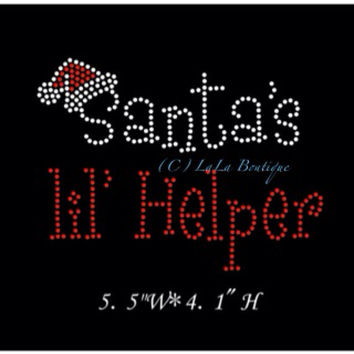 Christmas santa's little helper iron on Rhinestone transfer - hotfix iron on rhinestone - DIY motif - appliqué hot fix heat bling