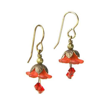 Fairy Flower Earrings in Vintage Natural Brass with Red Swarovski Crystals